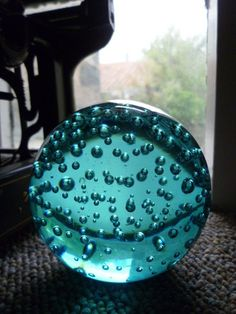 Large turquoise blue bubble glass paperweight