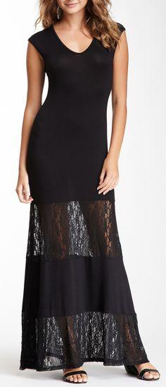 Lace Panel Maxi Dress