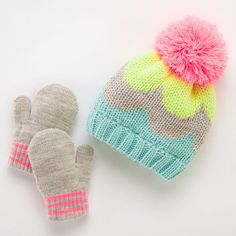 Carter's Colorblock Hat & Mittens Set - Baby