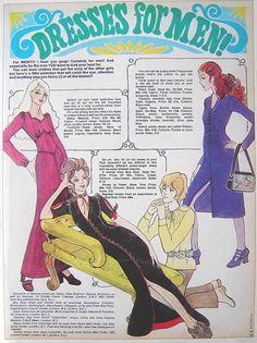 "1970s magazine fashion illustration ""Dresses for Men!"""