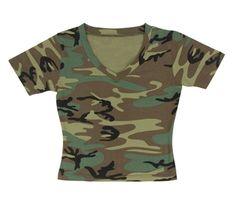 Women'S Woodland Camo S/S V-Neck T-Shirt- Belly Shirt
