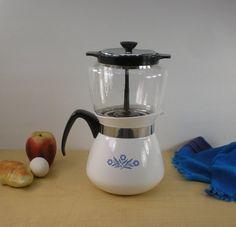 Corning Ware Blue Cornflower - 8 Cup Drip O Lator Stovetop Coffee Pot - Glass Bowl on Etsy, $43.00
