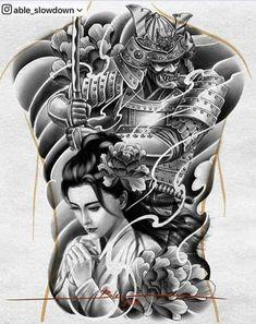 Samurai Tattoo Sleeve, Koi Tattoo Sleeve, Samurai Warrior Tattoo, Shoulder Armor Tattoo, Warrior Tattoos, Tattoo Sleeve Designs, Tattoo Designs Men, Japanese Warrior Tattoo, Japanese Back Tattoo