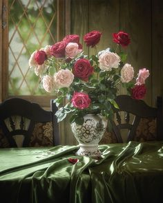 Garden roses by Daykiney on DeviantArt Beautiful Rose Flowers, Beautiful Flower Arrangements, Floral Arrangements, Birthday Clipart, Rose Vase, Oeuvre D'art, Flower Designs, Flower Art, Red Roses