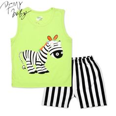 2016 New Cartoon Summer Baby Boy Clothing Set Tank Vest Top + Shorts Kid Boy Summer Sleeveless Set Children Boy Clothes Set
