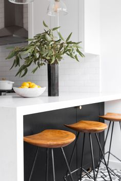 Bright styling in a two toned small kitchen