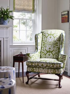 gorgeous re-upholstered wingback chair Home Design Decor, House Design, Interior Design, Home Decor, Blue And Green, Green Shades, Modern Country, Modern Farmhouse, Funky Furniture