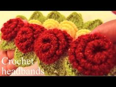 Aprende a tejer a Crochet diademas con rosas de una sola tira con hojas - Learn Crochet - YouTube