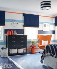 Mood Indigo - New England Home Magazine - pam roland - Mood Indigo - New England Home Magazine Blue is paired with orange in son Juan-Carlos's bedroom, which once belonged to hockey great Max Pacioretty. Boys Bedroom Paint, Kids Bedroom Boys, Boys Bedroom Decor, Bedroom Wall, Bedroom Ideas, Blue Boys Rooms, Blue Striped Walls, Striped Walls Bedroom, Bedroom Orange