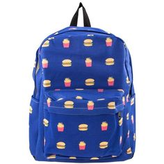 Burger and Fries Canvas Backpack in Dark Blue ($27) ❤ liked on Polyvore featuring bags, backpacks, print canvas backpack, faux-leather backpacks, blue canvas backpack, blue bag and patterned backpacks