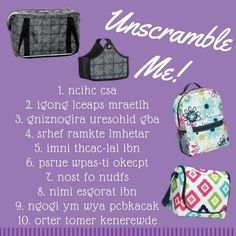 1. Cinch sac 2. Going places thermal 3. Organizing Shoulder Bag 4. Fresh Market Thermal 5. Mini catch-all bin 6. Super Swap-it pocket 7.Tons of Funds 8. Mini Storage Bin 9. Going My Way Backpack 10. Retro Metro Weekender Thirty One Games, Thirty One Fall, Thirty One Party, Fb Games, Bags Game, Lets Play A Game, 31 Bags, Thirty One Business, Thirty One Consultant