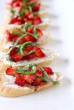 strawberries and basil bruschetta