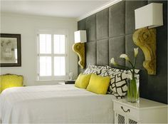 Lamps from sconces.  Yellow and gray. Love