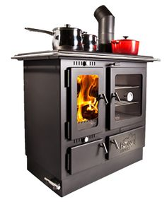 Looking for a great heater for your home or cabin? Maybe a stove or oven? The Ellis Wood Burning Stove has all three wrapped up in one elegant piece!