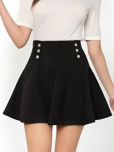 Women Preppy Plain Flared Mid Waist Black Above Knee/Short Length Dual Button Front Flare Skirt Skirts For Sale, Cute Skirts, Mini Skirts, Circle Skirts, Black Skirts, Fall Skirts, Short Skirts, Skirt Outfits, Cute Outfits