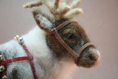 Needle Felted Reindeer by BlackSheepFeltArt on Etsy