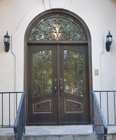 Borano Modena arched top solid mahogany double french doors with ...