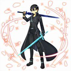 Kirito Sword, Kirito Asuna, Sword Art Online Kirito, Arte Online, Online Art, Anime Guys, Manga Anime, Sao Characters, Black And Gold Watch