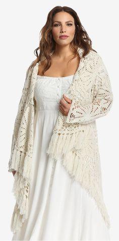 Plus Size Crochet Fringe Cardigan
