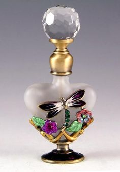 Dragonfly Floral Crystal Top Perfume Bottle