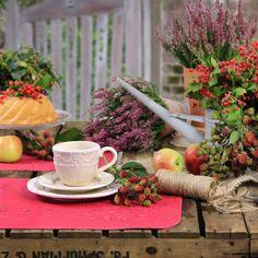 Arbeitspause im Herbstgarten. Abwaschbare Tischsets von Sander