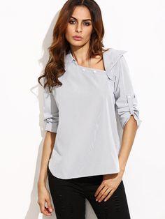 Модная полосатая блуза. асимметричный воротник