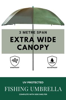 If you are looking for an extra large fishing umbrella with side shelter, Then this UV protected umbrella is the perfect option for any Fisherman. Comes complete with optional side shelter which can be zipped on and off. Perfect for the rain and sun. Fishing Umbrella, Fishing Tent, Brollies, Men's Day, Two Men, Carp, Pop Up, Outdoor Gear, Shelter