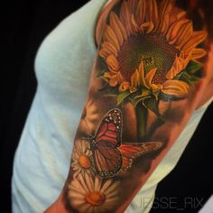 tattoos lower stomach, jasmine tattoo artist, upper arm wrap around tattoos, che… – Constellation Tattoo Sunflower Tattoo Shoulder, Sunflower Tattoo Small, Sunflower Tattoos, Sunflower Tattoo Design, Sunflower Tattoo Meaning, Full Sleeve Tattoos, Sleeve Tattoos For Women, Tattoo Sleeve Designs, Girly Sleeve Tattoo