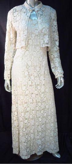 Vintage Ivory Eyelet Lace Maxi Dress with Jacket Wedding Dress  *
