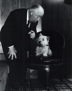 Alfred Hitchcock and his Westie Sarah