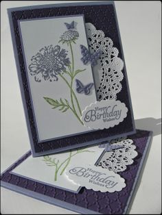 '15 Donna J. Did this with the Lotus Blossom in Wisteria Wonder & Elegant Eggplant. Lighter mat under white: 4 1/4 x 2 1/2
