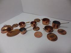 big bundle of copper cooking pans etc for victorian kitchen | eBay