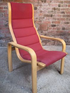 1980's Yngve Ekstrom for Swedese Red Fabric Chair (B) #swedish #fabric #red #wooden #swedish #swedese #similar #mint #vintage #retro #euvintage