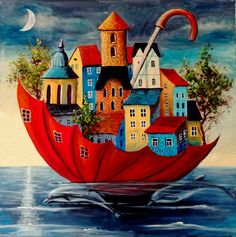 Cottage Art, Mini Canvas Art, Naive Art, Whimsical Art, Art Pictures, Creative Art, Watercolor Art, Art Projects, Abstract Art
