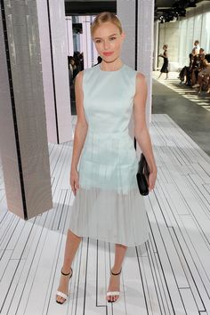 We love the sheer overlay on this BOSS dress, which Kate wore to the brand's runway show during fashion week.