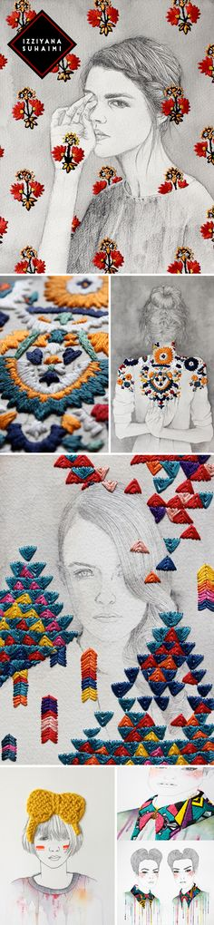 Izziyana Suhaimi: ilustrações p&b e bordados super coloridos Embroidery Art, Embroidery Stitches, Embroidery Patterns, Textiles, Textile Art, Fiber Art, Needlework, Weaving, Creations