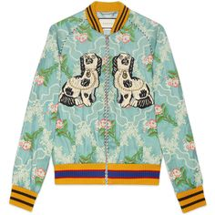 Gucci Floral Jacquard Bomber ($3,750) ❤ liked on Polyvore featuring men's fashion, men's clothing, men's outerwear, men's jackets, mens zip jacket, mens floral jacket, men's embroidered bomber jacket, mens floral bomber jacket and gucci mens jacket