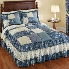 Heather Floral Patchwork Ruffled Bedspread from Collections Etc. Lovely patchwork style quilted bedspread features shades of blue and cream, the beautiful quilted top has 3 tiers of luxurious ruffles in coordinating Quilt Bedding, Cotton Bedding, Bedding Sets, Ruffle Bedspread, Ruffle Skirt, Designer Bed Sheets, Collections Etc, Quilted Bedspreads, Quilt Top