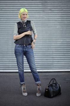 #MarianneTheodorsen rocking denim & leather in Oslo. #StyleDevil