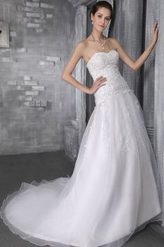 Classic White Tulle Wedding Gowns - Order Link: http://www.theweddingdresses.com/classic-white-tulle-wedding-gowns-twdn0038.html - Embellishments: Applique , Beading , Sequin; Length: Chapel Train; Fabric: Tulle; Waist: Natural - Price: 139.98USD