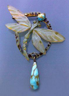 Art Nouveau Dragonfly Brooch - Tadema Gallery