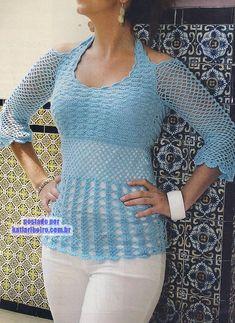 Katia Ribeiro Moda e Decoração Handmade - Crochê com Gráficos Blusas De  Crochê 8b2d6068f34