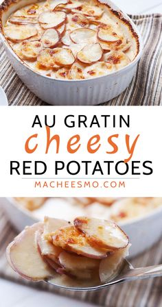 Baked red potatoes au gratin in a spicy, creamy three-cheese sauce. Browned on top and perfect for a holiday side dish! Via Macheesmo