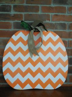 Chevron Pumpkin Wooden Door Hanger