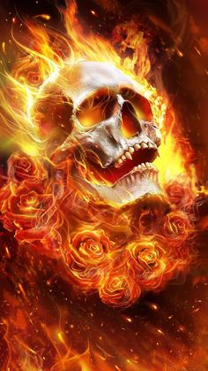 Skull in Flames with Roses Skull Tattoo Design, Skull Tattoos, Body Art Tattoos, Tattoo Designs, Tattoo Ideas, Airbrush Art, Rauch Tattoo, Beautiful Live Wallpaper, Skull Fire