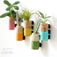 These wine cork succulent magnets are colorful magnets made from recycled wine corks. These pretty little staples will compliment your fridge perfectly! #howtomakeyourownwine