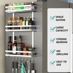 Spice Rack Storage, Refrigerator Storage, Kitchen Refrigerator, Pantry Storage, Storage Shelves, Spice Rack Pantry, Liquor Storage, Space Saving Kitchen, Small Kitchen Storage