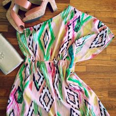 ✨HP✨Ikat Print One Shoulder Dress A bold and sassy one of a kind dress! It drapes over one shoulder and leaves the other bare. I wore it once to my bridal shower and just haven't worn it again since. It doesn't have the size tag in it but it's a small. Super cute and perfect for spring or summer! Dresses One Shoulder