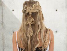 Boho Half Up Twisted Edge Fishtail Braid