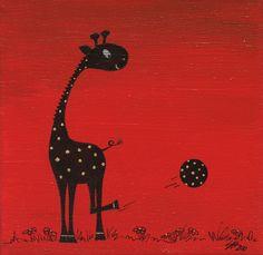 Soccer Giraffe - Acrylic on canvas (sold) by Sandra Herrgott
